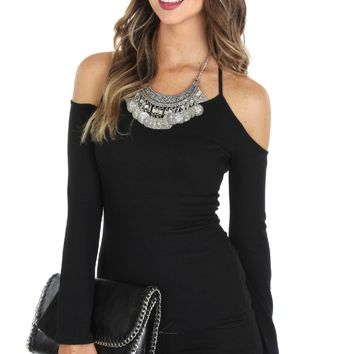 Cutout Ribbed Top Black