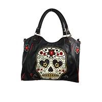 Rockabilly Day of the Dead Flower Sugar Skull Embroidered Shoulder Bag