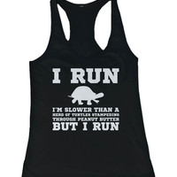 I'm Slower than a Turtle Funny Women's Workout Tank Tops Gym sleeveless Shirts