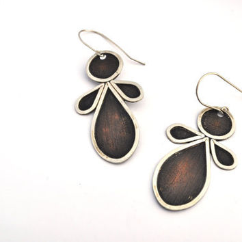 Large Copper and Sterling Silver Eyelet Lace Earrings, Copper and Silver Earrings, Statement Jewelry,Tear Drops