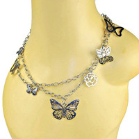 Multi Strand Butterfly Charms Necklace Silver Tone