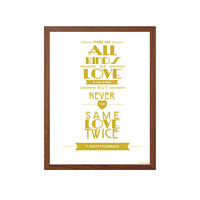 FITZGERALD | Never The Same Love Twice : Great Gatsby Modern Typography Art Wall Decor Print 8 x 10 | INSTANT Digital Download Printable