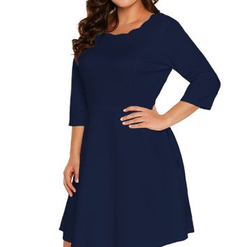 Chicloth Navy Scalloped Neckline 3/4 Sleeve Skater Dress