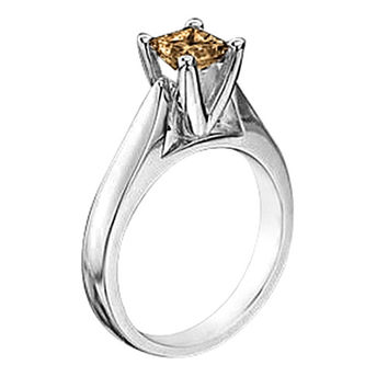 1 carat champagne diamond solitaire wedding ring gold