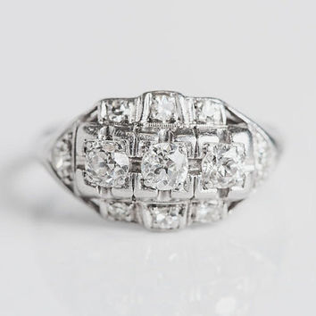 Plat Art Deco Princess Ring - Platinum Diamond Vintage Ring - Antique Jewelry - OEC Dia Handmade Ring - Unique Heirloom Estate Engagement