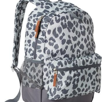 Old Navy Girls Patterned Backpacks Size One Size - Gray leopard