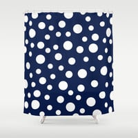 Crazy Dots: Navy Shower Curtain by Eileen Paulino
