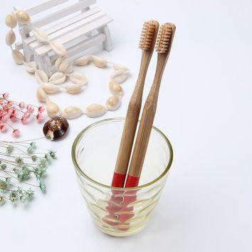 Bamboo Toothbrush Soft Bristles Red Natural Eco-friendly Bambou Round Handle Brush Travel Teeth Care Dental Tool Brosse A Dent