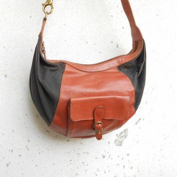 Vinatage Leather Bag IL BISONTE Leather and Canvas Crossbody or Shoulder Bag / Medium / Made in Italy
