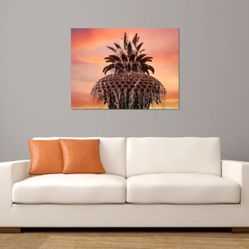 Charleston Photography - Pineapple Fountain Sunset, Fine Art Photograph, Orange Pink Yellow home decor, Travel Print, landmark wall art