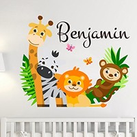 Animal Colorful Personalized Name Africa Safari Wall Decal Full Color Mural for Nursery Name Vinyl Sticker SD23