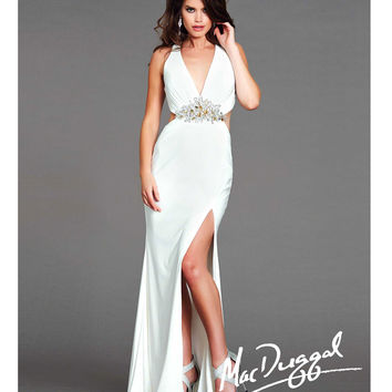 Mac Duggal 2014 Prom Dresses - Ivory & Gold Chiffon Halter Prom Gown