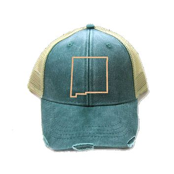 New Mexico Hat - Distressed Snapback Trucker Hat - New Mexico State Outline - Many Colors Available