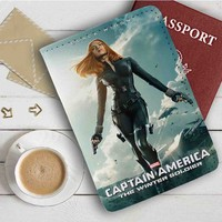 Black Widow Captain America Leather Passport Wallet Case Cover