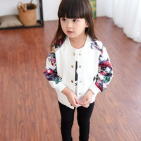 Little Girls Spring and Autumn Baseball Jacket Kids Korean Long Sleeve Bomber Jacket Flower Cardigan 2 Colors 1-9 Years