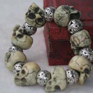 Skull Skulls Halloween Fall Worthy collection of silver beads and  series into rosary bracelet Calavera