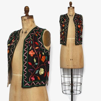 Vintage 60s Embroidered Vest / 1960s Boho Silk Floral Cotton Vest
