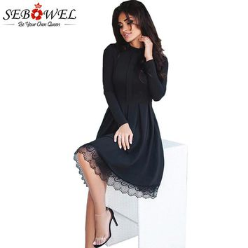 SEBOWEL 2017 New Autumn Elegant Long Sleeve Party Dress Women High Neck Lace Hemline Skater Dresses Femme Black Vestidos S-XL