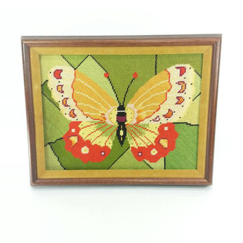 Vintage Butterfly Framed Needlepoint, Colorful, Retro, Wall Hanging, Home Office Room Decor, Boho, Vintage Art, Gift Idea