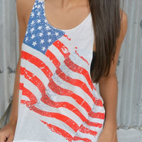 American Flag Printed Tank Top