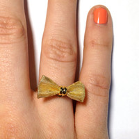 Gold Bow Ring with Adjustable Band