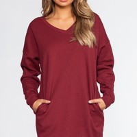 Dylan Sweatshirt Dress - Burgundy