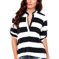 Casual Striped V-Neck Blouse