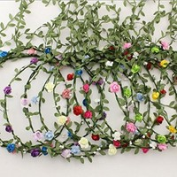 AWAYTR Baby Girl Fashion Bohemian Flower Crown Floral Garland Headbands (A-Mixed Color-9Pcs)