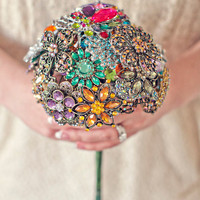Colorful Wedding Brooch Bouquet by SilverStems