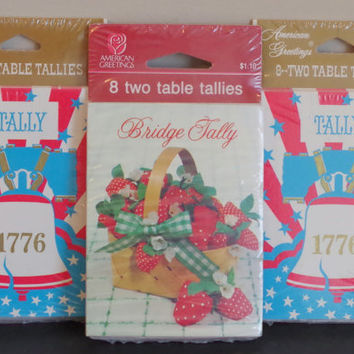 Vintage Bridge Tally Cards- UNUSED Original Packaging- American Greetings Bridge Score Cards- 3 Packs of NIP Bridge Card Game Supplies