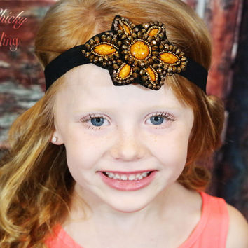 Girls Marbled Bead Flower Headband