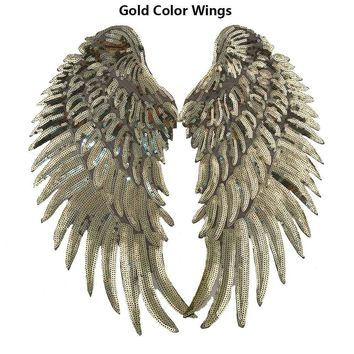 Trendy Charm Sequin Iron On Patch Angel Wings DIY Decoration T-shirt Dress Denim Jacket Iron On Sewing For Clothing Embroidered Patches AT_94_13
