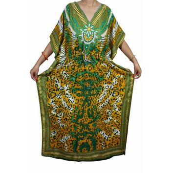 Mogul Womens Maxi Caftan Printed Kimono Style Swimsuit Beach Cover Up Evening Wear House Dress XXXL - Walmart.com