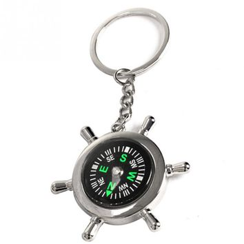 Outdoor Camping Hiking Climbing Compasses Survival Wheel Ruder Compass with Keychain