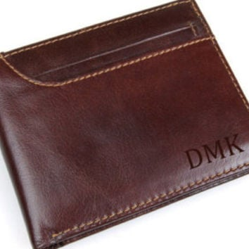 Personalized men's wallet • custom engraved wallet • genuine leather RFID wallet • Father of the bride • monogram wallet