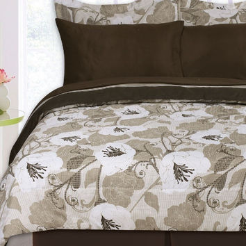 8PC Panola Chocolate/ Beige/ Ivory Reversible Bed Set