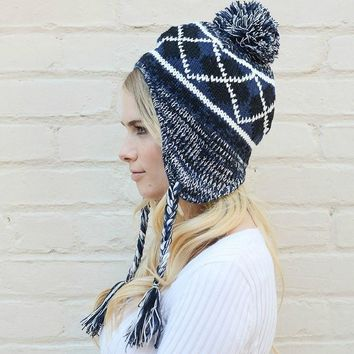 Ear Flap Tassel Beanie Hat with Pom Pom