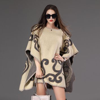 Fall and winter Women Pullover Sweater Loose Poncho Sweater