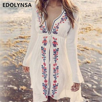 DKLW8 New Arrivals Beach Cover up Embroidery Vintage Swimwear Ladies Tunics Kaftan Beach Dress Beach Wear Women Robe de Plage #Q17