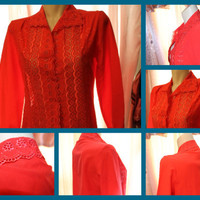 Red scalloped lace Vintage blouse Lee Mar by revampdcouture