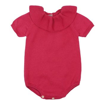 Carmina Baby Girls' Sweet Collared Knit Romper