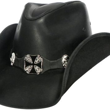 HIGHWAY TO HELL Austin Leather Cowboy Hat in Black Color