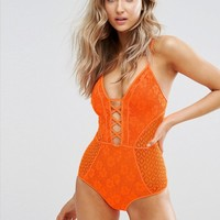 New Look Crochet Plunge Swimsuit at asos.com