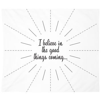 Believe in Good Things Coming Black And White Mandala Wall Tapestry Yoga Meditation