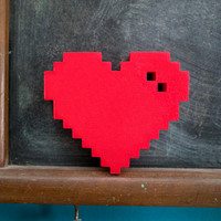 3D printed Pixel Heart valentine's day 8bit love