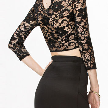 Black Sheer Lace Crop Top with Keyhole Back Detail