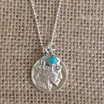Authentic Buffalo Nickel Necklace Elephant Charm Turquoise Bead Sterling Silver Ball Chain