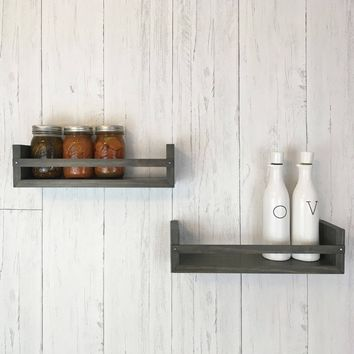 Solid Wood Rustic Shelf Set / Spice Racks - Stained Finish