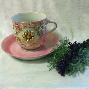 Pink and Gold Teacup With Saucer Vintage Tuscan Style Gold Gilded Floral Teacup Set Italian Gold Pink White Mid Century Ornate Cup Saucer