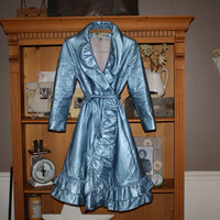 Powder Blue Lilli Ann Early 1960's Coat Ruffled by shoppnspree